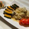 乾燥でバリバリです、プルプル目指し保湿するも・・・ひとりで楽しむ、即席料理、牡蠣とかぼちゃのバター炒め