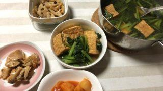 インフルエンザ予防注射、満員で数件フラれる、4,000円だって・・・小松菜のたいたの、母弁当