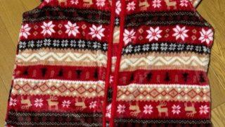 冷える冬、肩を温めるベスト買う、肘までの水仕事用手袋、小物は可愛いい柄で。
