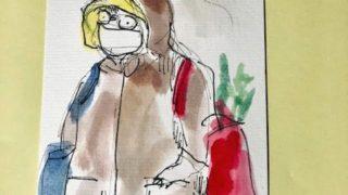 買い物スタイルは、ウィルス対応・・マスクをしない不仲な夫・・親に毎日絵手紙11