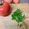 キッチンガーデン超便利、瞬間トマト卵ソテー、おたふく豆・キュウリ・カタツムリの絵を描きました。